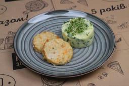 Рибні котлети з картопляним пюре зі шпинатом (130/150г)