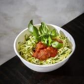 Espaguetis de Calabacín con Albóndigas