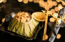 Poulet avec champignons parfumés dans les feuilles de lotus (avec riz)