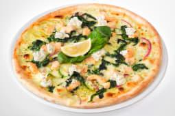 Піца з лососем, шпинатом та крем-сиром (500г)