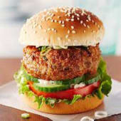 Chicken Burger served with chips or salad