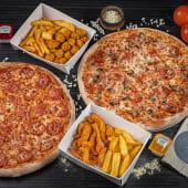ქათმის ბურთლების კალათა + ქათმის ფინგერსის კალათა + 2 დიდი პიცა