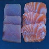 Sashimi mixto: atún y salmón (6 uds)