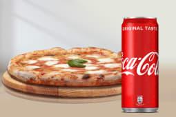 Pizza mortadella + Coca-Cola