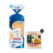Pan Blanco Bimbo Mediano 480gr + Pack Jamonada y Edam Braedt 180gr