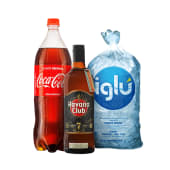 Ron havanna club  7 años 750 ml + cocacola  1.5 lt + hielo iglu 1.5 kg