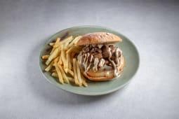 Burger piamontesa + patatas fritas