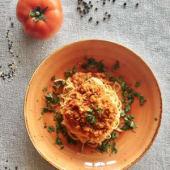 Bolonhesa de Soja em ninho de Esparguete Integral | vegan