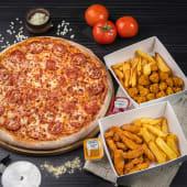 ქათმის ბურთულების კალათა + ქათმის ფინგერსის კალათა + დიდი პიცა