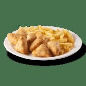 9 sticks de pollo y papa frita
