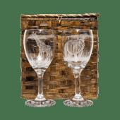 Giraffe Rhino Etched Wine Glass Set