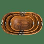 Round Olive Wooden Bowl Set