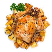 Pollo campero asado con patatas fritas