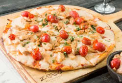 Pizza pollo al ajillo