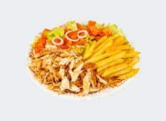 Kebab de pui  cu cartofi/orez la farfurie
