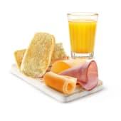 Tostada de jamón y queso + café o zumo