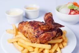 1/4 de pollo a la brasa + papas + ensalada