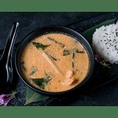 Суп Том ям з тигровими креветками і лососем (300/100г)