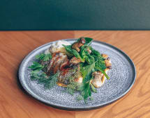 Філе дорадо з грибами, хрумким шпинатом (250г)