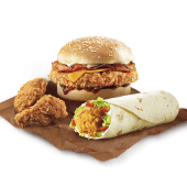 Burger Bacon BBQ Cheddar + Twister + 2 Alitas Picantes