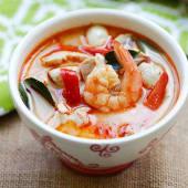 Shrimp Tom Yam soup with coconut milk