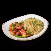 Pollo con tamarindo y arroz chaufa