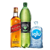 Johnnie Walker Red Label 750 Ml + Evervess 1.5 Lt + Hielo 1.5 Kg