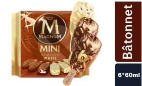 Glaces Magnum Pack Amandes et Chocolat Blanc 6*60ml