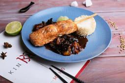 Лосось з лемонграсом з рисом та грибами шиїтакі (130/60/60г)