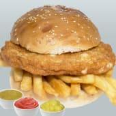 Hamburguesa de pollo + papas fritas