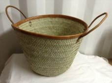 Kikapu leather straw shopping basket