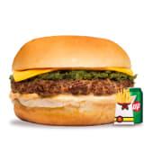 Hamburguesa 1/4 de libra + queso + papas fritas + Pepsi lata (330ml.)
