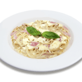 Spaguetti en salsa blanca + jamón + mozzarella
