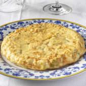 Tortilla Melosa De Puerros  Confitdos Y Bacalao