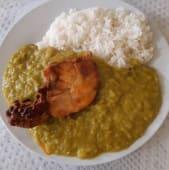 Alverjitas partidas con arroz