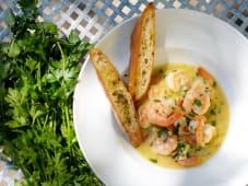 Gamberi dell'Atlantico con salsa di burro, aglio e vino bianco