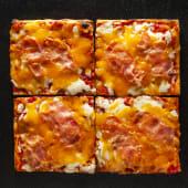 Pizza Cheddar y bacon (4 pzs.)