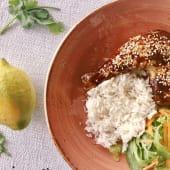 Coxas de Frango c/ molho Teriyaki, Arroz Basmati e Salada variada