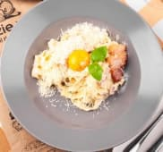Паста з вершковим соусом та беконом (350г)