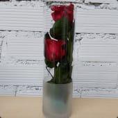Jarrón con 2 rosas preservadas
