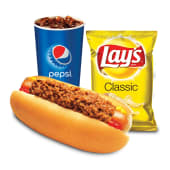 Combo chili dog + papas Lay's + soda (21 oz.)