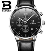 54c11a37d5a2 Binger leather strap hand wrist chronograph watch