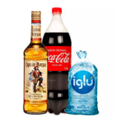 Capitan Morgan 750 Ml + Coca Cola 1.5 Lt + Hielo 1.5 Kg