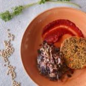 Hambúrguer Artesanal de Quinoa e Lentilhas c/ketchup de beterraba