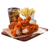 4-pz Buffalo Chicken Tenders - Patatine Medie - Bibita 0,4L