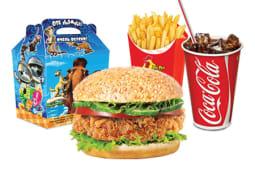 Куриный бургер+напиток на выбор+фри+маленькая игрушка