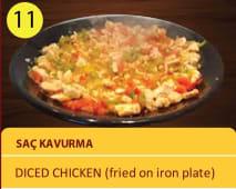 Sac kavurma - diced chicken fried on iron plate