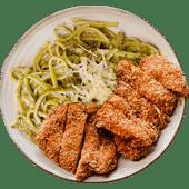 Tallarín verde con chicken katsu