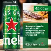 Coaste de porc cu wedges + Heineken doza