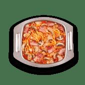 Combo spaghetti de tocino y champiñón
